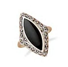 Black Onyx Ring With Marcasite Edge