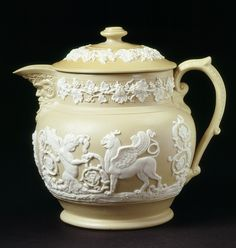 Style Guide: Regency Classicism - Victoria and Albert Museum Covered Jug John & William Ridgway (probably, maker) 1830-1850 Drab stoneware, thrown and turned, with applied moulded decoration