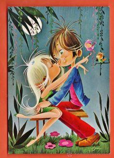 postal - pareja enamorada bajo la luna - dib. asun - nº 7048 - ed. cyp - circulada - año 1969 Vintage Postcards, Vintage Images, Vintage Art, Cute Images, Cute Pictures, Illustrations, Illustration Art, Cute Love Gif, Baby Painting