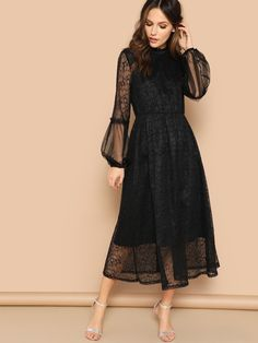 Black Scallop Mock Neck Sheer Balloon Sleeve Lace Dress Spring A Line Stand Collar High Waist Puff Sleeve Dresses Color Black Size XS Black Dress With Sleeves, Dresses With Sleeves, Sleeve Dresses, Scalloped Dress, Belted Dress, Dress Lace, Lace Dress Pattern, Lace Dresses, Dress Shoes