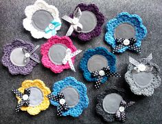 Flower brooches with reflectives.