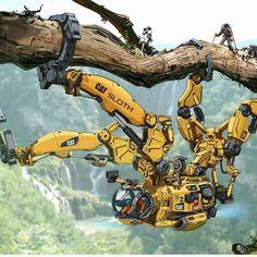 CAT Sloth by: Longque Chen : #Cyberpunk What Is Cyberpunk, Arte Cyberpunk, Cyberpunk 2077, Character Concept, Character Art, Gato Anime, Arte Robot, Fanart, Robot Concept Art