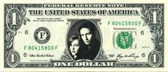 X-FILES - Real Dollar Bill Cash Money Collectible Memorabilia Celebrity Novelty by Vincent-the-Artist, $7.77 USD