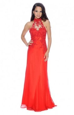 Long Red Decode 1.8 182894 Halter Neck Lace Prom Dresses