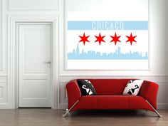 Chicago Flag - WALL DECAL - Chicago skyline - Great Father's Day Gift!