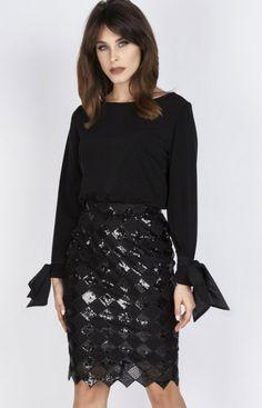 Milu MP228 spódnica czarna Zjawiskowa spódnica, długość midi, niezwykle zmysłowa i kobieca propozycja