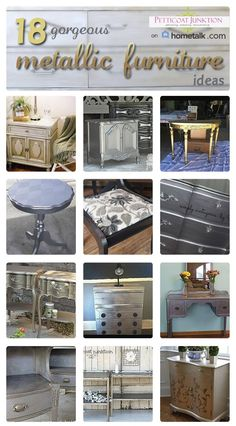 metal furniture Painted Furniture- 25 metallic furniture makeovers for inspiration. Metallic Painted Furniture, Distressed Furniture, Paint Furniture, Furniture Projects, Furniture Making, Furniture Makeover, Home Furniture, Diy Projects, Refurbished Furniture