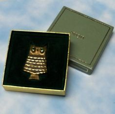 Vintage Avon Owl solid perfume brooch.