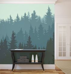 Bedroom. Creative Wall Mural Inspiration, Fascinating Ideas Bedroom Decoration. Silhouette Of Forest In Winter Wallpaper Inspiration.