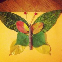fall leaves. cute butterfly's for kids crafts. Children can bring in any type of leaves to create any animal they would like. Visual art and collaging is DAP