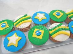 Cupckaes copa do mundo, cupcakes Brasil, festa Brasil na copa