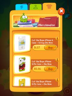 CUT the ROPE 2 | IAP Merchandise Store | UI, HUD, User Interface, Game Art, GUI, iOS, Apps, Games, Grahic Desgin, Puzzle Game, Brain Games, Zeptolab | www.girlvsgui.com