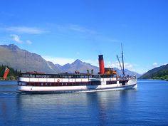 The wonderful TSS Earnslaw - on Lake Wakatipu, Queenstown. New Zealand Destinations, Lake Wakatipu, South Island, Kiwi, Things To Do, My Photos, Scenery, Ocean, Country