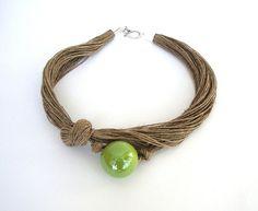 Lime green   linen necklace ceramic necklace eco by dekkoline,