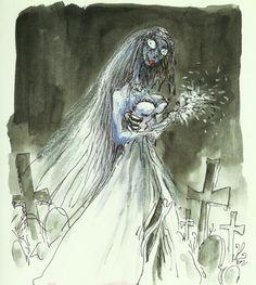 Corpse Bride in Graveyard, 1995-1998  Pen & ink, watercolor, pastel