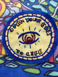 Embroidered Bassnectar Patch: Open Your Eyes To by RambleOnEasy  #Bassnectar #bassnectarpatch #basshead #bassnectarfamily #bnf #festival #embroideredpatches #handmadepatches #hippiepatch