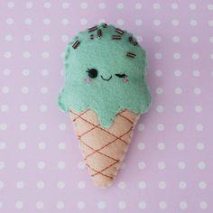 Mint Choc Chip Ice Cream Felt Brooch by hannahdoodle on Etsy, $15.00