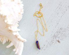 Flame Mystic Quartz Necklace Rainbow Blue by MoonTideJewellery