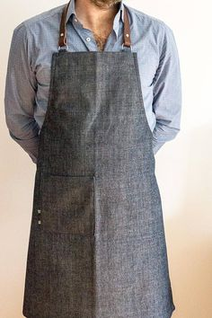 Items similar to The OSLO denim apron with leather neck strap. Chef's apron / Barista apron / Barber apron / Handmade gift / on Etsy Barber Apron, Shop Apron, Work Aprons, Leather Apron, Apron Designs, Bib Apron, Half Apron, Dark Brown Leather, Barista