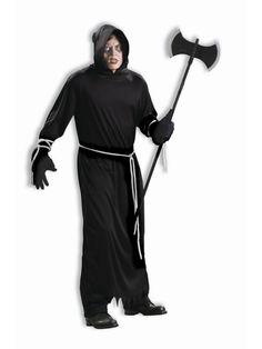 Forum Novelties Men's Plus-Size Death Robe Plus Size Costume Adult Costumes, Halloween Costumes, Spooky Halloween, White Rope, White Belt, Horror Costume, Plus Size Costume, Pajama Romper, All Black Outfit