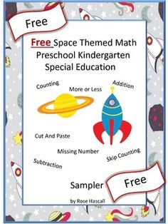 FREE: Free Space Themed Math Preschool Kindergarten Special Education Sampler  With this Sampler you will receive three (3) worksheets from my Space Themed Math Fun Preschool, Kindergarten Math Center Worksheets.