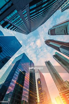 ストックフォト : Low angle view of skyscrapers in Toronto downtown