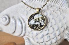 Yuzen Waves Necklace // Japanese Waves Pendant by PolishTheStone