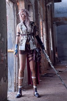 Final Fantasy XIII -- Lightning Cosplay Costume Version 03