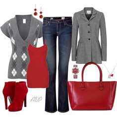 Gray and Red - not so crazy about the sweater - might be too bulky under the jacket - but I still love the color scheme!