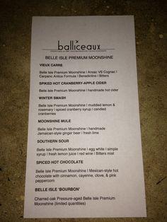 Balliceaux signature cocktails with Belle Isle Premium Moonshine