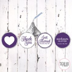 Royal Purple Wedding Favor Hershey Kiss Sticker, set of 108 stickers.