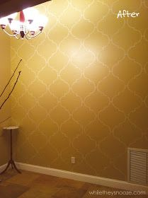 Want to do this on our accent wall in Moroccan themed room.  :)  DIY Moroccan-Style Wall Stencil Tutorial
