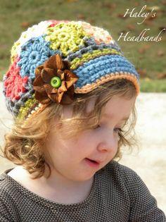 M2M Matilda Jane - Field Trip Patchwork Crochet Brimmed Slouchy Newsboy Beanie Girls Hat.via Etsy.