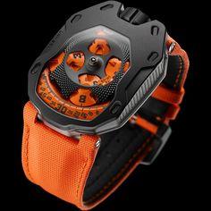Urwerk UR-105TA Black Orange Titanium and Black PVD Steel