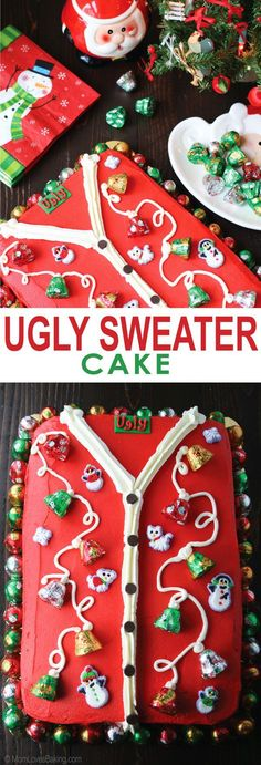 The perfect cake to take to your Ugly Sweater party. It's a yellow cake with buttercream frosting decorated to look just like an ugly sweater.