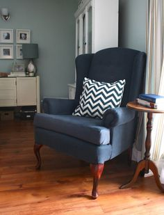 wingback chair & chevron pillow