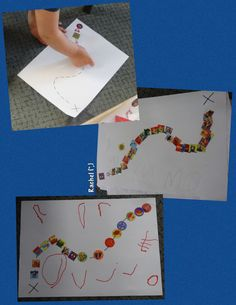 """Tracing a treasure map with stickers. Fine motor fun from Rachel ("""",)"""