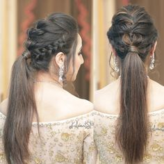 Puffy Ponytail Hairstyles That Indian Brides Are Getting Ob – WedBook Open Hairstyles, My Hairstyle, Wedding Hairstyles For Long Hair, Braids For Long Hair, Indian Hairstyles, Ponytail Hairstyles, Bride Hairstyles, Front Hair Styles, Medium Hair Styles