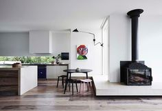 Featured fireplace. Black Box - Flinders House, Victoria, by susileeton.com.au. Photography by Lisa Cohen, courtesy of Australian Interior Design Awards 2014. #interiors #smh #lifeandstyle #fireplaces #home #style
