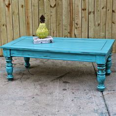 Bayside Blue/ Coffee Table/ Table/ Vintage /Shabby Chic /Distressed /Living room Furniture /Tv Stand. $175.00, via Etsy.