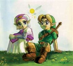 Young Princess Zelda, Navi the fairy, and Young Link - The Legend of Zelda: Ocarina of Time; Official artwork for the game