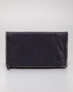 Stella McCartney Faux Leather Falabella Fold-Over Clutch Bag, Navy - Bergdorf Goodman