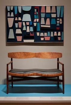 Wall art & bench /Sam Maloof;walnut bench