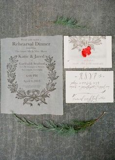 Featured on OSBP: Katie's Rustic Italian-Inspired Calligraphy Rehearsal Dinner Invitations, Design + Photo Credits: Laura Catherine