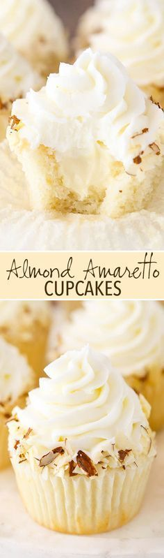 Almond Amaretto Cupcakes - almond cupcakes and frosting with a whipped amaretto filling! Almond Amaretto Cupcakes - almond cupcakes and frosting with a whipped amaretto filling! Almond Frosting, Almond Cupcakes, Flavored Cupcakes, Gourmet Cupcakes, Vanilla Cupcakes, White Cupcakes, Mocha Cupcakes, Filled Cupcakes, Cheesecake Cupcakes
