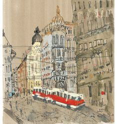 'Red Tram Prague' Giclee print    Image size approx A3    Edition size 195   £130