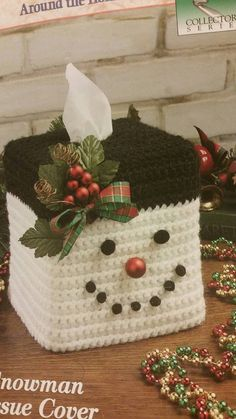 Made To Order Snowman Tissue box cover Boutique style tissue Crochet Christmas Decorations, Christmas Crochet Patterns, Holiday Crochet, Christmas Ornaments, Tissue Box Covers, Tissue Boxes, Crochet Snowman, Etsy Handmade, Handmade Gifts
