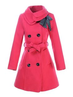Sweet Trench Coat Women's Double-breasted Bows Winter Wool Coat