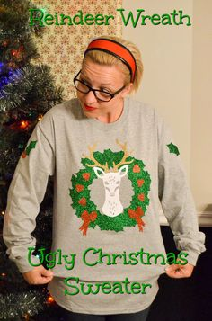 I think the ugly sweater tradition is one of the most fun things about the holidays. I love seeing gorgeously tacky Christmas sweaters! My reindeer wreath was so fun to make, and was an easy DIY! Christmas Projects, Christmas Diy, Ugly Sweater Contest, Diy Ugly Christmas Sweater, Xmas Sweaters, Ugly To Pretty, Crafts To Make And Sell, Easy Sewing Projects, Craft Projects