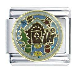 Gingerbread House Christmas Italian Charms Bracelet Link X2 Italian Charm Pugster.com